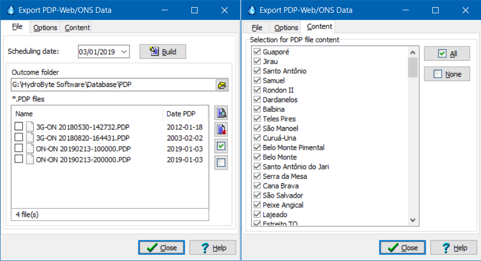Options for export data on the PDP-Web file format.