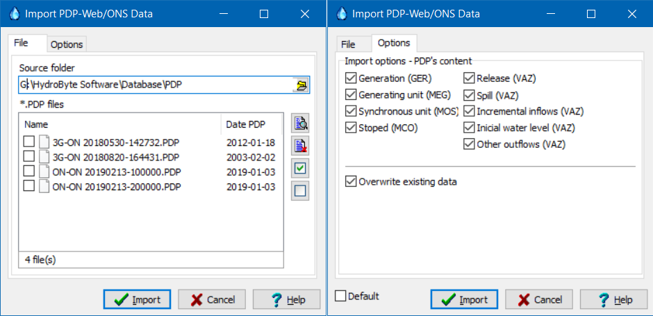 Options for import data on the PDP-Web file format.